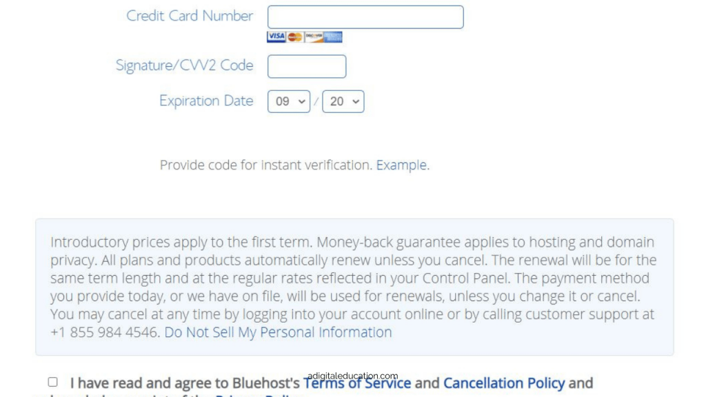 payment page for bluehost while setting up a wordpress blog